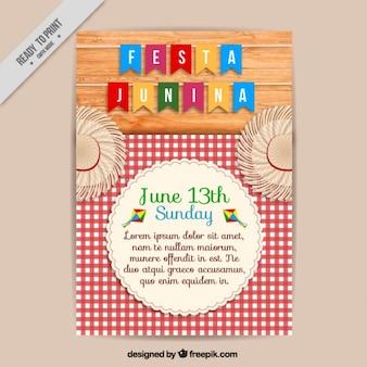 Nette festa junina broschüre mit einem karierten tischtuch