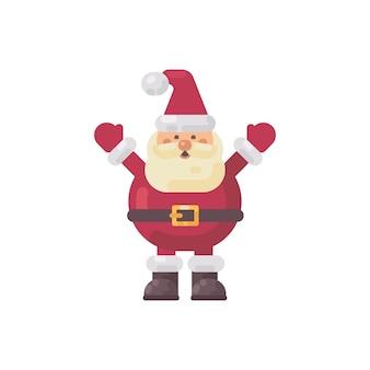 Nette fette flache illustration weihnachtsmanns. lustige weihnachtszeichenikone