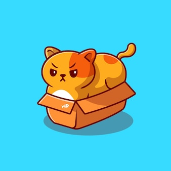 Nette fette katze im kasten-karikatur-symbol-illustration. tierliebesikonen-konzept isoliert. flacher cartoon-stil