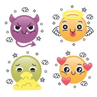 Nette flache design-emoji-sammlung