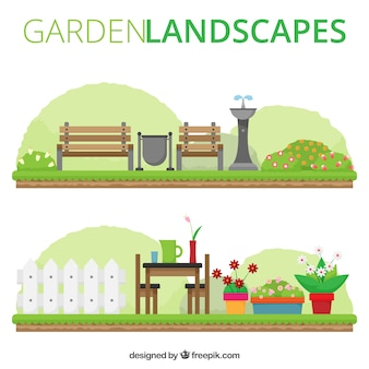 Nette flache Gartenlandschaften
