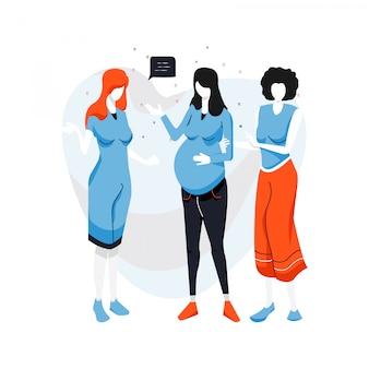 Nette flache gruppe der schwangeren frau der illustration. schwangerschaftskarikatur-vektorillustration.