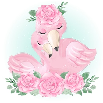 Nette flamingo mutter und baby
