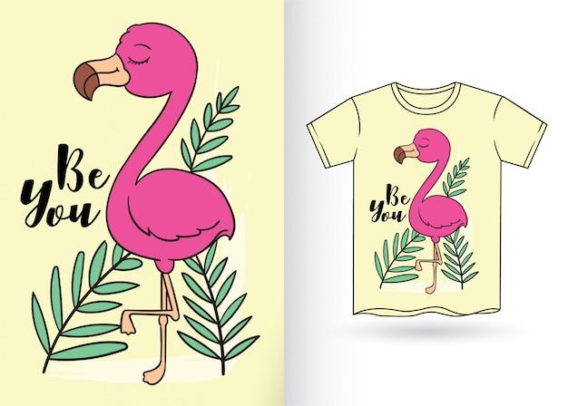 Nette flamingohand gezeichnet für t-shirt