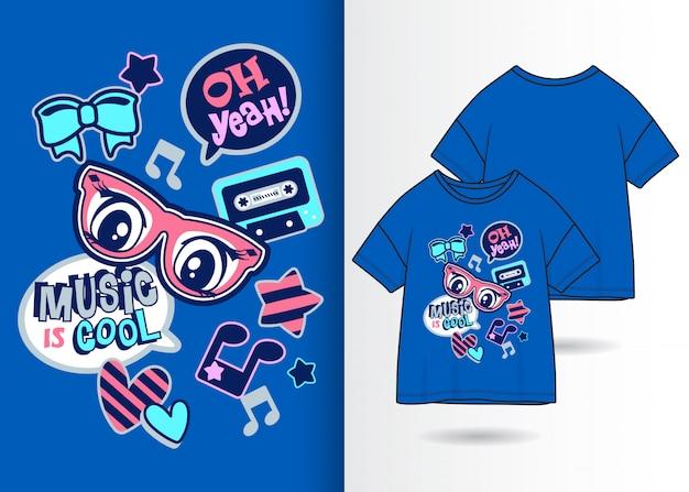 Nette fleckenillustration mit t-shirt design
