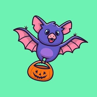 Nette fledermaus mit kürbis halloween cartoon icon illustration. tier halloween icon konzept isoliert. flacher cartoon-stil