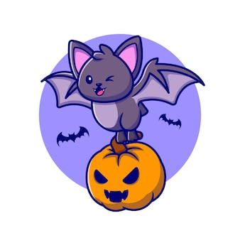 Nette fledermaus mit kürbis halloween cartoon icon illustration.