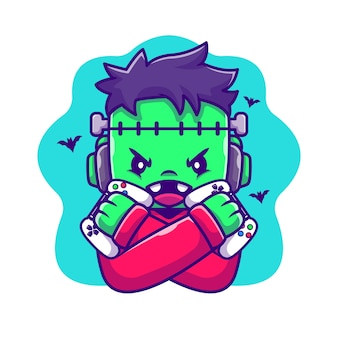Nette frankenstein zombie gaming cartoon illustration. halloween gaming icon konzept