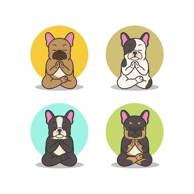 Nette französische bulldogge yoga pose namaste