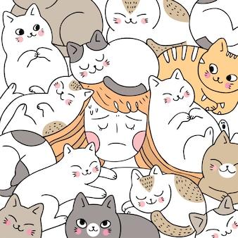Nette frau der karikatur, die mit katzen schläft