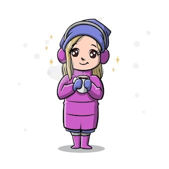 Nette frau im wintersaison-cartoon