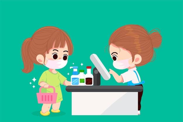 Nette frau in den medizinischen masken, die das einkaufen in der supermarktkarikaturkunstillustration tun
