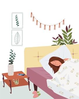 Nette frau schlafendes mädchen, das sich auf gemütlicher matratze ausruht gesunder schlaf cartoon illustration