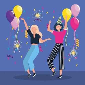 Nette frauen, die mit ballonen und konfettis tanzen