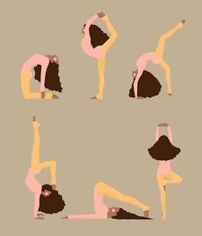 Nette frauen, die yoga-haltungen tun