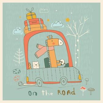 Nette freunde giraffe und katzebabytiere, die im auto reisenhand gezeichnete vektorillustration