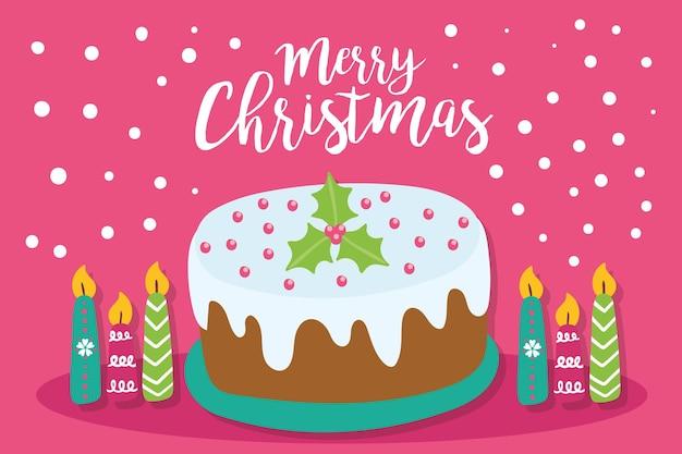 Nette frohe weihnachtskarte und niedlicher kuchen mit kerzendekorationsillustrationsentwurf