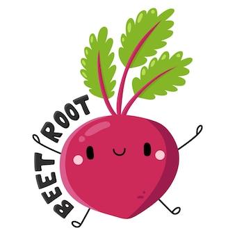 Nette früchte und gemüse zeichentrickfigur rote beete