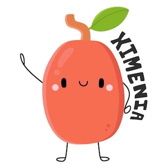 Nette früchte und gemüse zeichentrickfigur ximenia