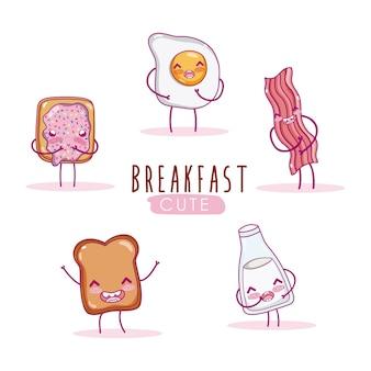 Nette frühstückszutaten kawaii karikatur