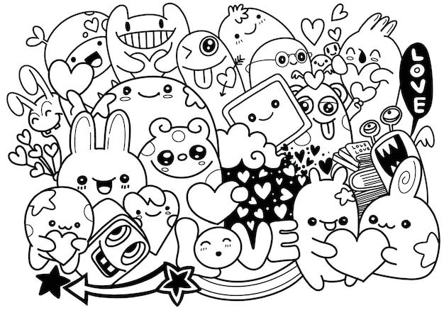 Nette furchtsame halloween-monster und süßigkeit, hand gezeichnete linie kunstkarikatur-vektorillustration
