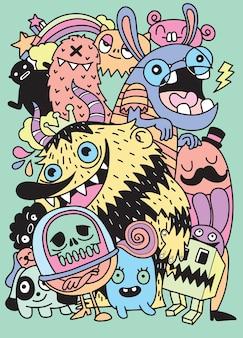 Nette furchtsame halloween-monster und süßigkeit