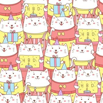 Nette geburtstagsfeier mit nahtlosem muster der katzenkarikatur
