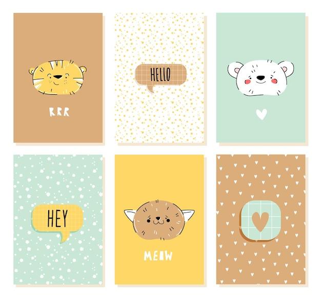 Nette geburtstagskarte mit lustigen tieren im handgezeichneten stil für kinder