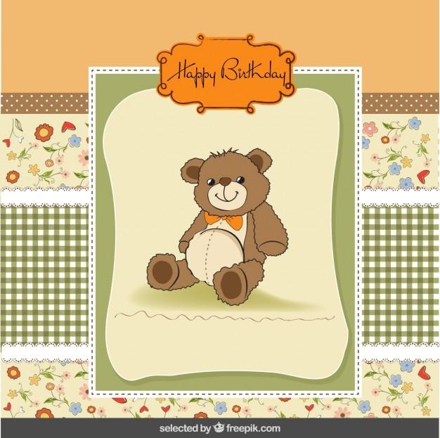 Nette geburtstagskarte mit teddybär