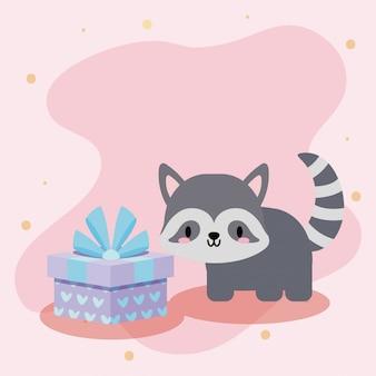 Nette geburtstagskarte mit waschbär kawaii