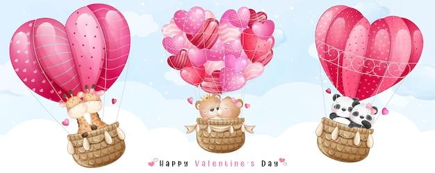 Nette gekritzel-tiere, die mit luftballon für valentinstag fliegen
