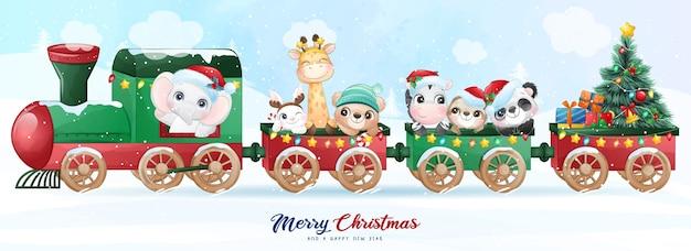 Nette gekritzel-tiere für weihnachtstag mit aquarellillustration