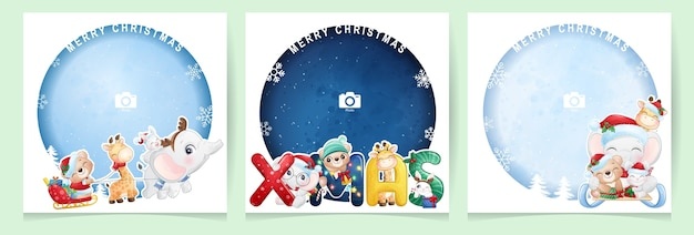 Nette gekritzel-tiere für weihnachtstag mit fotorahmensammlung