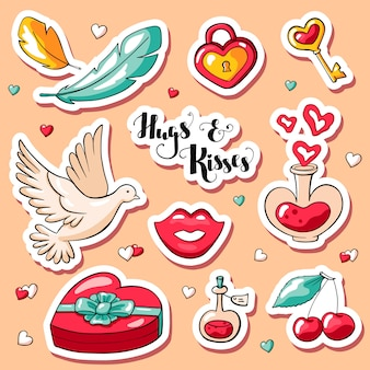 Nette gekritzel valentinstagaufkleber