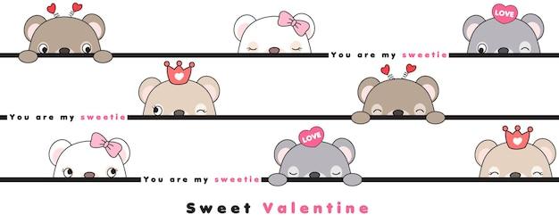Nette gekritzelbären zum valentinstag