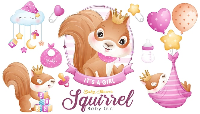 Nette gekritzeleichhörnchen-babyparty mit aquarellillustrationssatz illustration