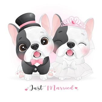 Nette gekritzelhunde mit hochzeitskleidern, gerade verheiratet