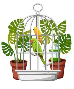 Nette gelbe und grüne papageienillustration