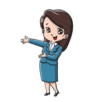 Nette geschäftsfrau-karikatur