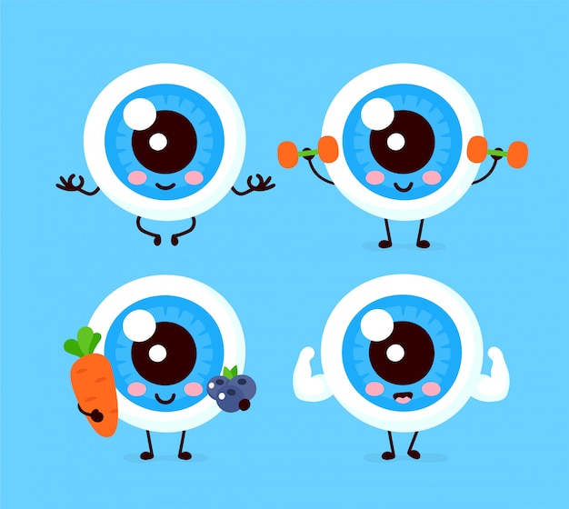 Nette gesunde glückliche menschliche augapfelorgan-zeichensatzsammlung. flache cartoon-illustration-symbol. isoliert auf weiss augenpflege charakter