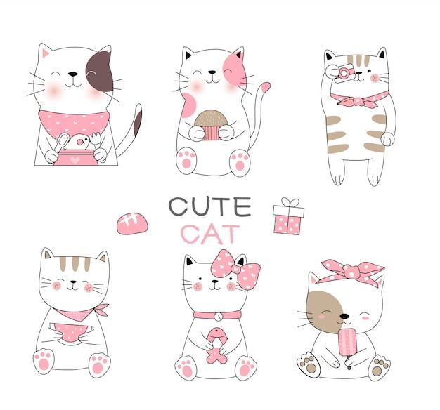 Nette gezeichnete art der babykatzenkarikatur hand
