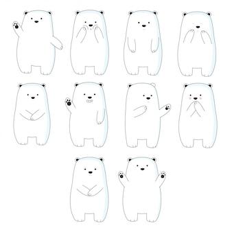 Nette gezeichnete art der bärenkarikatur hand