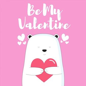 Nette gezeichnete art der eisbär-karikatur hand für valentinsgruß