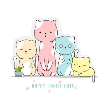 Nette gezeichnete art der familienkatzen hand