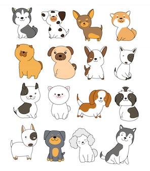 Nette gezeichnete art der hundesammlung hand