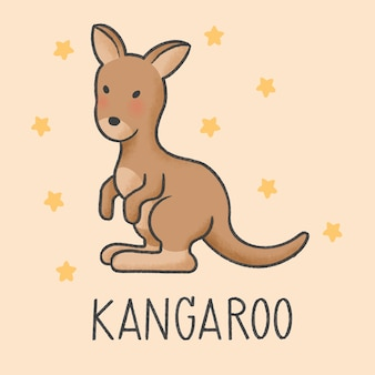 Nette gezeichnete art der kängurukarikatur hand
