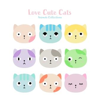 Nette gezeichnete art der katzen hand
