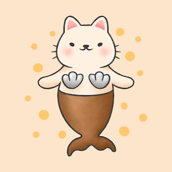 Nette gezeichnete art der katzenmeerjungfrau-karikatur hand