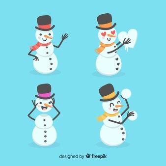 Nette gezeichnete art der schneemannweihnachtssammlung in der hand