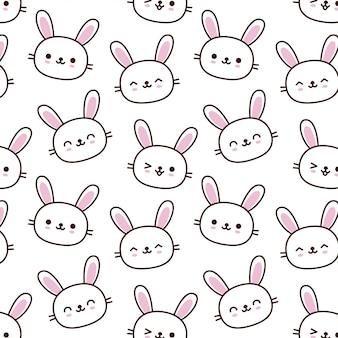 Nette gezeichnete art des kaninchenkarikatur-musters hand